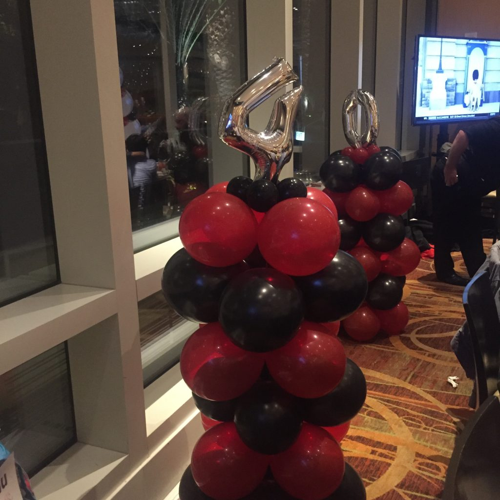 40th Birthday Balloon Pillars